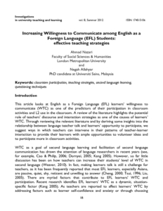 Increasing willingness to communicate among English as a Foreign