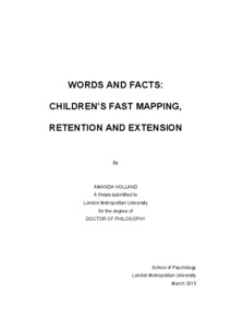 Words and facts: children\'s fast mapping, retention and extension ...